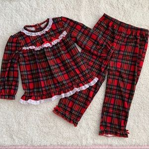 Little Me Christmas Plaid ruffle 2 piece pajamas